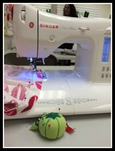 Sewing the encasing for the elastic waste band.