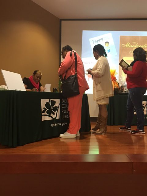 Krystal Grant speaks at the Dekalb Library's Jubilee of Reading Book Club Conference